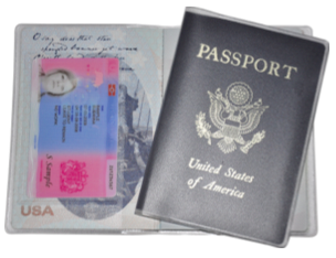 Lost BRP Card - Secure Holder USA Passport Delphine-D